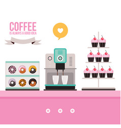 Delicious sweet desserts donuts cupcakes coffee vector