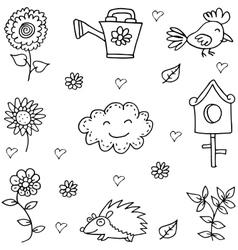 Doodle of flower bird set object vector