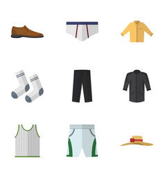 Flat icon dress set of male footware pants vector