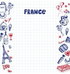 France Symbols Pen Drawn Doodles Collection vector image vector image