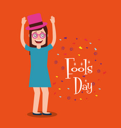 Funny woman with hat and glsses arms up fools day vector