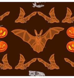 Halloween seamless texture bat pumpkin and skull vector