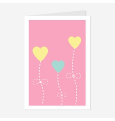 Heart flowers dash line love greeting card flat vector