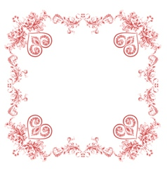 Hearts and ornaments vintage frame vector