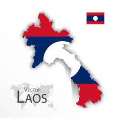 Laos map and flag vector