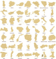 Maps of european countries detailed vector