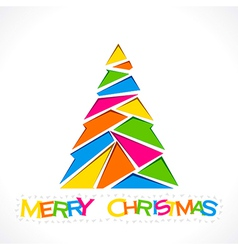 Merry christmas tree design with triangle design vector