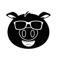 Pig emoji with sunglasses kawaii vector