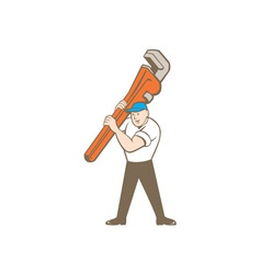 Plumber carrying monkey wrench cartoon vector
