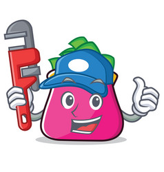 Plumber purse character cartoon style vector