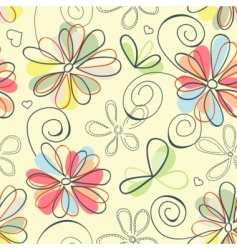 retro floral background vector image vector image