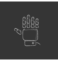 Robot hand drawn in chalk icon vector