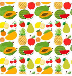 seamless background with fresh fruits vector image