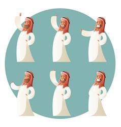 set of muslim cartoon characters vector image vector image