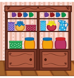shelves in kitchen with food and utensils vector image