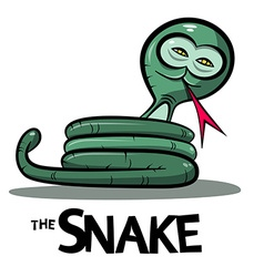 Snake cartoon - green boa or anaconda snake with vector