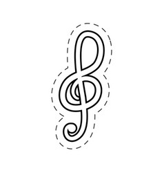 Treble clef music cut line vector