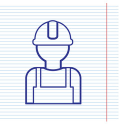 Worker sign navy line icon on notebook vector