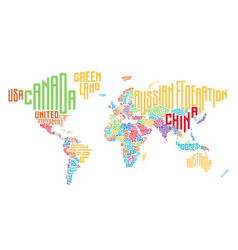 World Map Made Of Typographic Country Names Vector Image - World map pic with country name