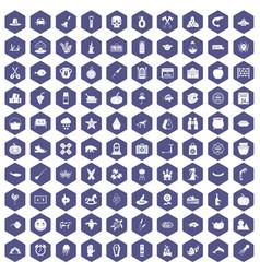 100 autumn holidays icons hexagon purple vector
