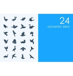 Set of blue hamster library geometric birds icons vector
