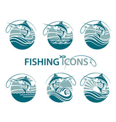 Fishing emblems set vector