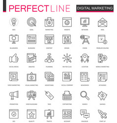 Digital marketing thin line web icons set online vector