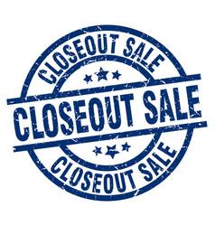 Closeout sale blue round grunge stamp vector