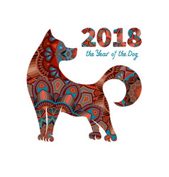 2018 year of the dog vector image vector image