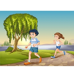 Couple jogging vector