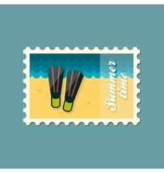Flippers flat stamp summertime vector