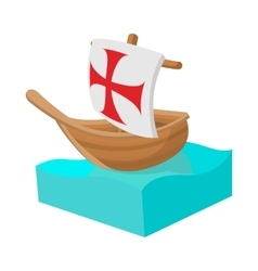 Columbus ship icon in cartoon style vector