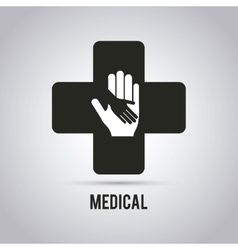 Hands medical care design vector