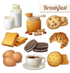 Breakfast 3 set of cartoon food icons vector