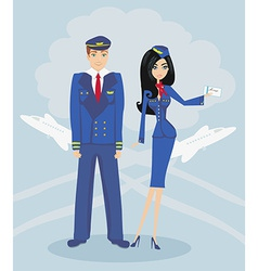 A pilot and stewardess in uniform vector