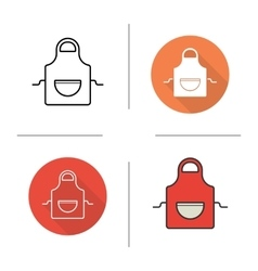 Apron flat design linear and color icons set vector image vector image