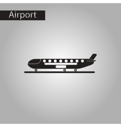 Black and white style icon airplane airport vector