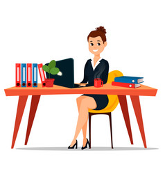 Business woman sitting at the table cute cartoon vector