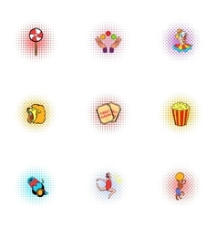 Circus chapiteau icons set pop-art style vector