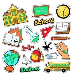 Comic style badges patches stickers school vector
