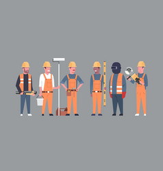 costruction workers team industrial technicians vector image