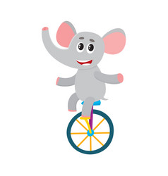 Cute little elephant character riding bicycle vector