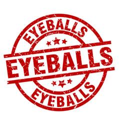 Eyeballs round red grunge stamp vector