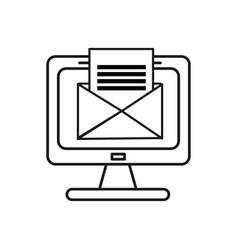 Figure computer with virtual folder open message vector