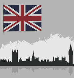 flag of great britain and the outlines of vector image vector image