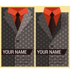 Flat business card template with gray jacket vector image