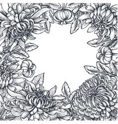 Frame with hand drawn chrysanthemum flowers vector