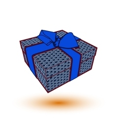 gift box present with blue bow and ribbon EPS10 vector image vector image