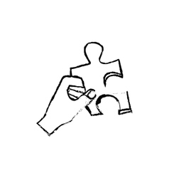 hand with puzzle piece vector image