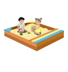 hildren play in the sandbox vector image vector image